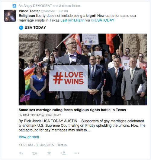 """Religious liberty does not include being a bigot! New battle for same sex marriage erupts in Texas."""