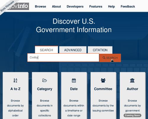 Govinfo.gov Shows Us the Work of Governing